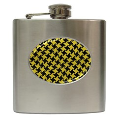 Houndstooth2 Black Marble & Yellow Leather Hip Flask (6 Oz)