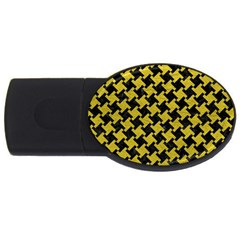 Houndstooth2 Black Marble & Yellow Leather Usb Flash Drive Oval (2 Gb)