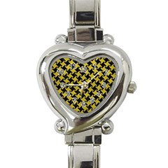 Houndstooth2 Black Marble & Yellow Leather Heart Italian Charm Watch