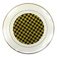 Houndstooth2 Black Marble & Yellow Leather Porcelain Plates