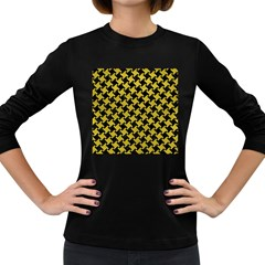 Houndstooth2 Black Marble & Yellow Leather Women s Long Sleeve Dark T Shirts