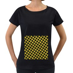 Houndstooth2 Black Marble & Yellow Leather Women s Loose Fit T Shirt (black)