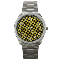 Houndstooth2 Black Marble & Yellow Leather Sport Metal Watch