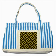 Houndstooth2 Black Marble & Yellow Leather Striped Blue Tote Bag