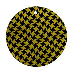 Houndstooth2 Black Marble & Yellow Leather Round Ornament (two Sides)