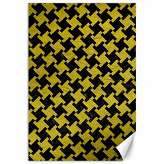 Houndstooth2 Black Marble & Yellow Leather Canvas 12  X 18