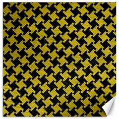 Houndstooth2 Black Marble & Yellow Leather Canvas 20  X 20