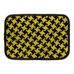 Houndstooth2 Black Marble & Yellow Leather Netbook Case (medium)