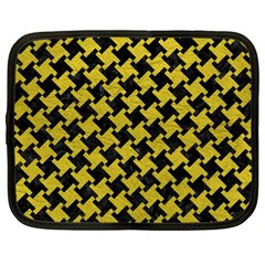 Houndstooth2 Black Marble & Yellow Leather Netbook Case (large)