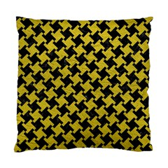 Houndstooth2 Black Marble & Yellow Leather Standard Cushion Case (two Sides)