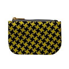 Houndstooth2 Black Marble & Yellow Leather Mini Coin Purses