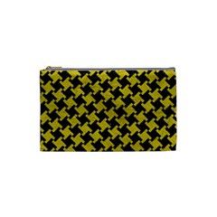 Houndstooth2 Black Marble & Yellow Leather Cosmetic Bag (small)