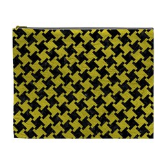 Houndstooth2 Black Marble & Yellow Leather Cosmetic Bag (xl)