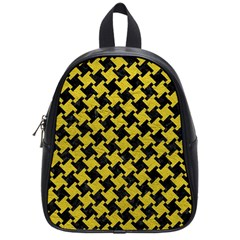 Houndstooth2 Black Marble & Yellow Leather School Bag (small)