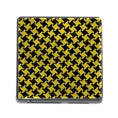 Houndstooth2 Black Marble & Yellow Leather Memory Card Reader (square)