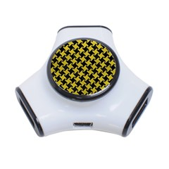 Houndstooth2 Black Marble & Yellow Leather 3 Port Usb Hub