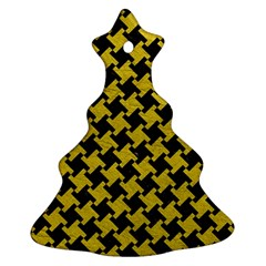 Houndstooth2 Black Marble & Yellow Leather Christmas Tree Ornament (two Sides)