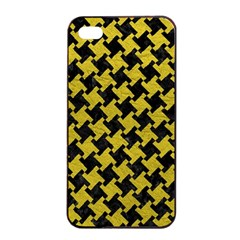 Houndstooth2 Black Marble & Yellow Leather Apple Iphone 4/4s Seamless Case (black)
