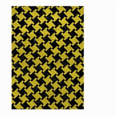Houndstooth2 Black Marble & Yellow Leather Large Garden Flag (two Sides)