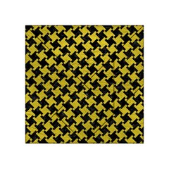 Houndstooth2 Black Marble & Yellow Leather Acrylic Tangram Puzzle (4  X 4 )