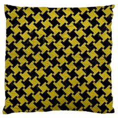 Houndstooth2 Black Marble & Yellow Leather Large Cushion Case (two Sides)