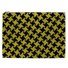 Houndstooth2 Black Marble & Yellow Leather Cosmetic Bag (xxl)