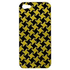 Houndstooth2 Black Marble & Yellow Leather Apple Iphone 5 Hardshell Case