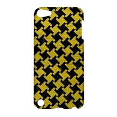 Houndstooth2 Black Marble & Yellow Leather Apple Ipod Touch 5 Hardshell Case