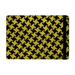 Houndstooth2 Black Marble & Yellow Leather Apple Ipad Mini Flip Case