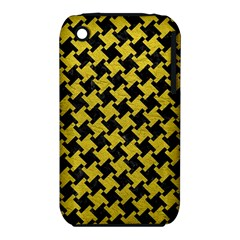 Houndstooth2 Black Marble & Yellow Leather Iphone 3s/3gs