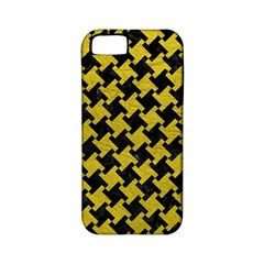 Houndstooth2 Black Marble & Yellow Leather Apple Iphone 5 Classic Hardshell Case (pc+silicone)