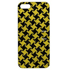Houndstooth2 Black Marble & Yellow Leather Apple Iphone 5 Hardshell Case With Stand
