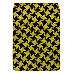 Houndstooth2 Black Marble & Yellow Leather Flap Covers (l)