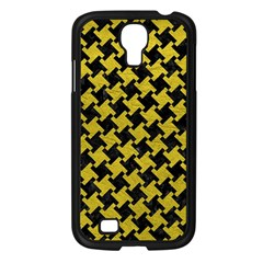 Houndstooth2 Black Marble & Yellow Leather Samsung Galaxy S4 I9500/ I9505 Case (black)