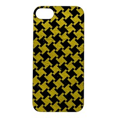 Houndstooth2 Black Marble & Yellow Leather Apple Iphone 5s/ Se Hardshell Case