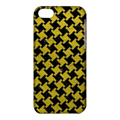 Houndstooth2 Black Marble & Yellow Leather Apple Iphone 5c Hardshell Case