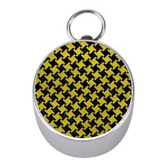 Houndstooth2 Black Marble & Yellow Leather Mini Silver Compasses
