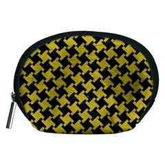 Houndstooth2 Black Marble & Yellow Leather Accessory Pouches (medium)