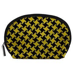 Houndstooth2 Black Marble & Yellow Leather Accessory Pouches (large)