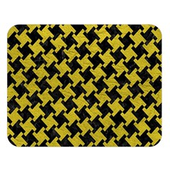 Houndstooth2 Black Marble & Yellow Leather Double Sided Flano Blanket (large)
