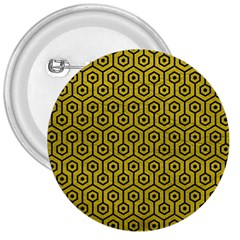 Hexagon1 Black Marble & Yellow Leather 3  Buttons
