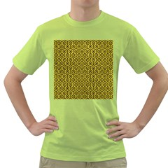 Hexagon1 Black Marble & Yellow Leather Green T Shirt