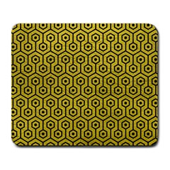 Hexagon1 Black Marble & Yellow Leather Large Mousepads