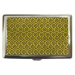 Hexagon1 Black Marble & Yellow Leather Cigarette Money Cases