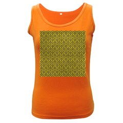 Hexagon1 Black Marble & Yellow Leather Women s Dark Tank Top