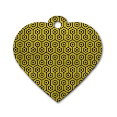Hexagon1 Black Marble & Yellow Leather Dog Tag Heart (one Side)