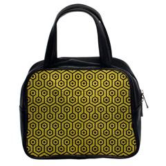 Hexagon1 Black Marble & Yellow Leather Classic Handbags (2 Sides)