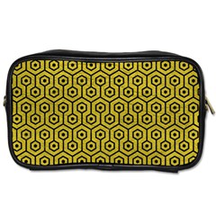 Hexagon1 Black Marble & Yellow Leather Toiletries Bags 2 Side