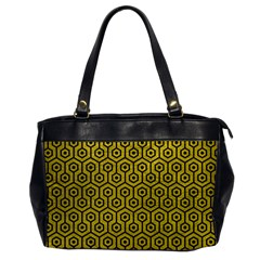 Hexagon1 Black Marble & Yellow Leather Office Handbags