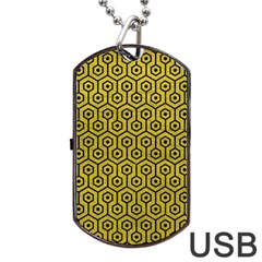 Hexagon1 Black Marble & Yellow Leather Dog Tag Usb Flash (two Sides)